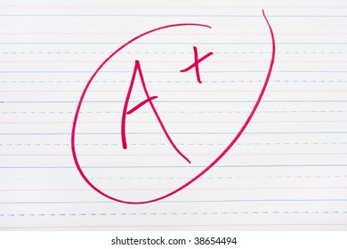 A letter grade written on lined paper, good grades