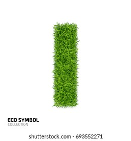 Letter of grass alphabet. Grass letter I isolated on white background. Symbol with the green lawn texture. Eco symbol collection.