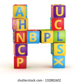 Letter H from ABC cubes for kid spell education