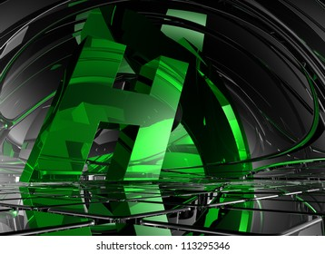 letter h in abstract futuristic space - 3d illustration