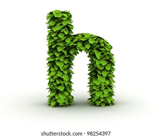 Letter  h, alphabet of green leaves, small caps