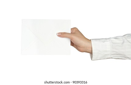 letter in hand isolated on white background