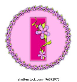 The letter I, in the alphabet set Daisy Chain, is soft pink.  Letter sits on round circle outlined with a circle of daisies.  Letters are also decorated with climbing vines and flowers.