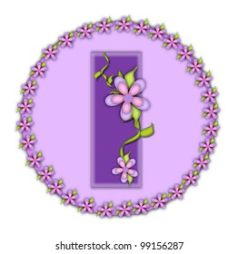 The letter I, in the alphabet set Petite Floral, is soft lilac.  Climbing vines and flowers cling to lilac letter.