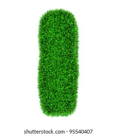 Letter I, made of grass isolated on white background.