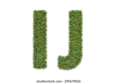 Letter I,J of  green grass isolated on white