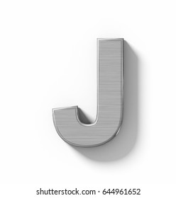 letter J 3D metal isolated on white with shadow - orthogonal projection - 3d rendering