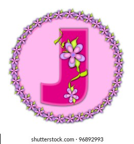 The letter J, in the alphabet set Daisy Chain, is soft pink.  Letter sits on round circle outlined with a circle of daisies.  Letters are also decorated with climbing vines and flowers.