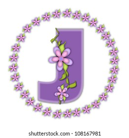 The letter J, in the alphabet set Petite Ring of Petals, is soft lilac and surrounded by a circle of daisies.  Climbing vines and flowers cling to lilac letter on a white background.