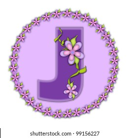 The letter J, in the alphabet set Petite Floral, is soft lilac.  Climbing vines and flowers cling to lilac letter.