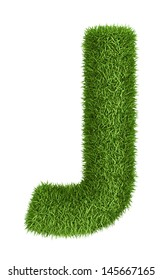 Letter J  isolated photo realistic grass ecology theme on white