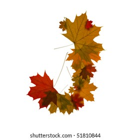 letter J from red autumn maple leaves