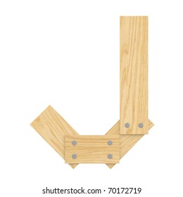 Letter J from wood board alphabet. There is a clipping path