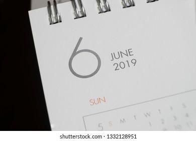the letter june on the 2019 calendar