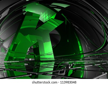 letter k in abstract futuristic space - 3d illustration
