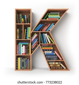 Letter K. Alphabet in the form of shelves with books isolated on white. 3d illustration