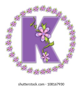 The letter K, in the alphabet set Petite Ring of Petals, is soft lilac and surrounded by a circle of daisies.  Climbing vines and flowers cling to lilac letter on a white background.