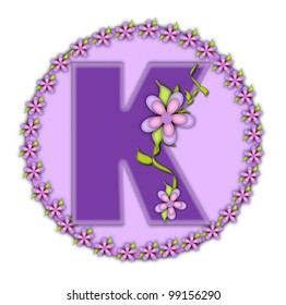 The letter K, in the alphabet set Petite Floral, is soft lilac.  Climbing vines and flowers cling to lilac letter.