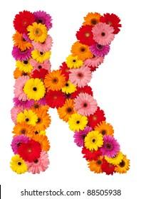 Letter K - flower alphabet isolated on white background