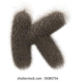 Letter K from fur alphabet