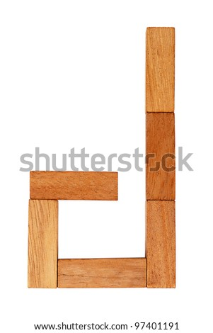 the letter k is made up of wooden blocks