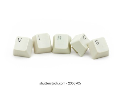 letter keys close up, concept of computer virus