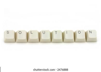 letter keys close up, concept of solution