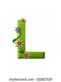 """The letter L, in the alphabet set """"Wonderland"""" is 3d and colored green.  Letter is decorated with 3d flowers and vines."""