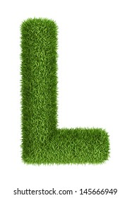 Letter L  isolated photo realistic grass ecology theme on white