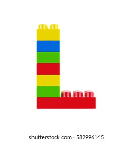 Letter L plastic font alphabet character made of toy construction brick blocks. Isolated on white background