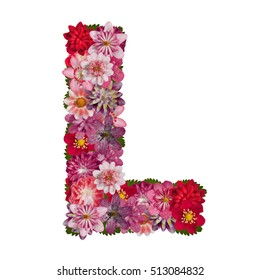 letter L red flowers alphabet