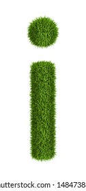 Letter i lowercase photo realistic grass ecology theme on white