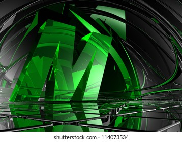 letter m in abstract futuristic space - 3d illustration