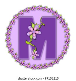 The letter M, in the alphabet set Petite Floral, is soft lilac.  Climbing vines and flowers cling to lilac letter.