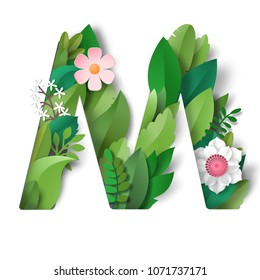 Letter M with leaves and flowers. Realistic shadows.