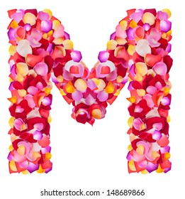 Letter M  made from colorful petals rose,  isolated on a white background