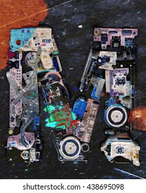 The Letter M made up from old electronic parts