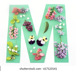 Letter M Made of Spring Flowers and Paper, on White Background.