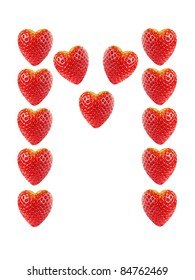 """Letter """"M"""" made of strawberries, isolated on white"""