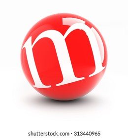 Letter m on a bright red balls with reflections isolated on white.