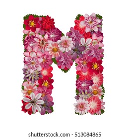letter M red flowers alphabet