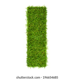 Letter I made of green grass isolated on white
