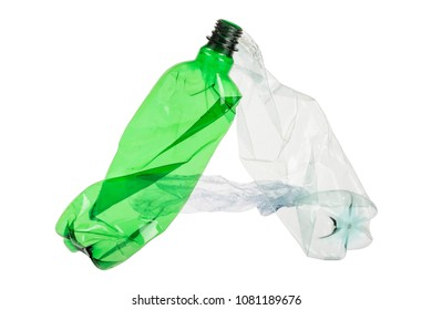 Letter A made of plastic bottle on isolated white background; our irresponsible, excessive consumerism of plastic; social advertising