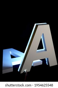 Letter A made from PVC and iluminated with blue neon light isolated on black background