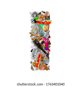 Letter I made of trash isolated on white background