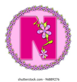 The letter N, in the alphabet set Daisy Chain, is soft pink.  Letter sits on round circle outlined with a circle of daisies.  Letters are also decorated with climbing vines and flowers.