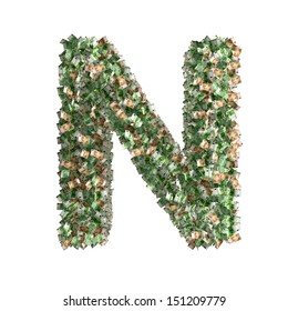 Letter N made from Euro banknotes