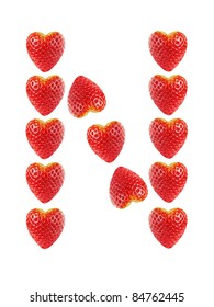 """Letter """"N"""" made of strawberries, isolated on white"""