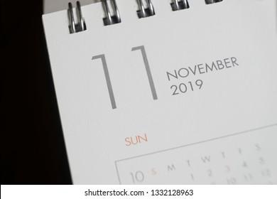 the letter november on the 2019 calendar