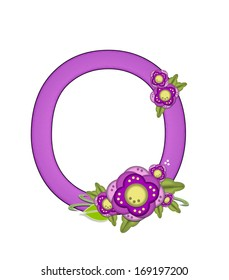 "The letter O, in the alphabet set ""Purple Petunia"" is soft purple and decorated with flower clusters and green leaves."